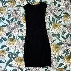 VS Stretchy Black Dress with Asymmetrical Neckline